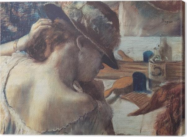 Leinwandbild Edgar Degas - Vor dem Spiegel - Reproduktion
