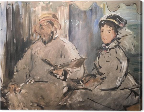 Leinwandbild Édouard Manet - Der Maler Monet in seinem Atelier - Reproductions