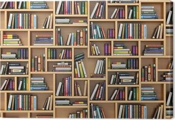 Leinwandbild Education-Konzept. Bücher und Lehrbücher auf dem Bücherregal.