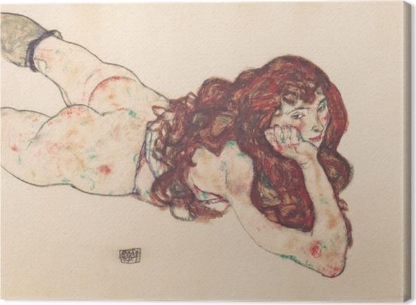 Leinwandbild Egon Schiele - Auf dem Bauch liegender weiblicher Akt - Reproduktion
