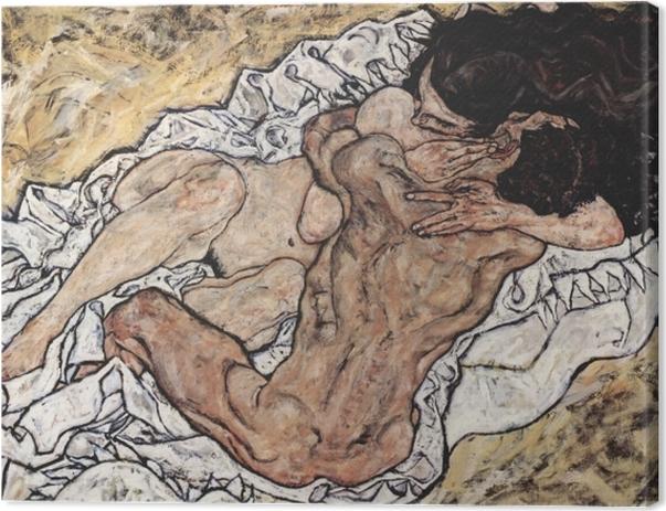 Leinwandbild Egon Schiele - Die Umarmung (Liebespaar II) - Reproduktion