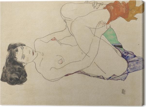 Leinwandbild Egon Schiele - Liegender Akt - Reproduktion