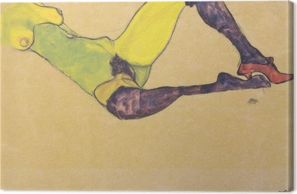 Leinwandbild Egon Schiele - Liegender weiblicher Akttorso (Weiblicher Akt mit violetten Strümpfen) - Reproduktion