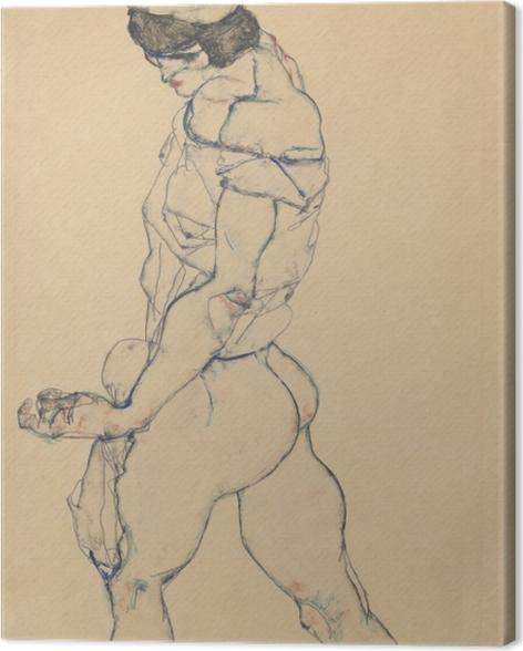 Leinwandbild Egon Schiele - Nach links schreitender Frauenakt - Reproduktion