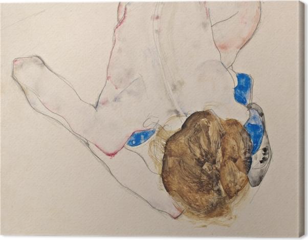 Leinwandbild Egon Schiele - Nach vorne gebeugter Akt mit blauen Strümpfen - Reproduktion