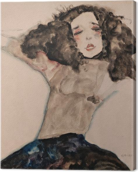 Leinwandbild Egon Schiele - Schwarzhaariges Mädchen mit hochgeschlagenem Rock - Reproduktion