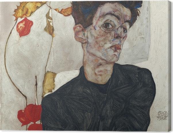 Leinwandbild Egon Schiele - Selbstbildnis mit Lampionfrüchten - Reproduktion