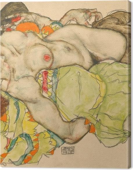 Leinwandbild Egon Schiele - Weibliches Liebespaar - Reproduktion