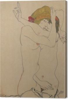 Leinwandbild Egon Schiele - Zwei Frauen umarmen sich