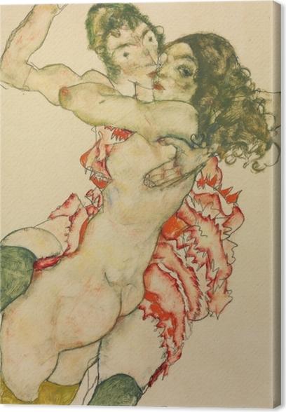 Leinwandbild Egon Schiele - Zwei Freundinnen - Reproduktion