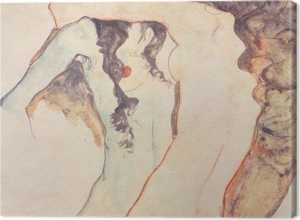 Leinwandbild Egon Schiele - Zwei sich umarmende Frauen - Reproduktion