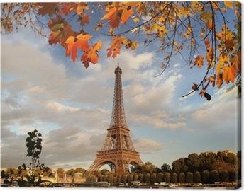 Leinwandbild Eiffelturm mit Herbstlaub in Paris, Frankreich