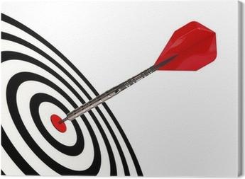 Leinwandbild Ein Dart-Pfeil trifft sein Ziel mit Clipping-Pfad