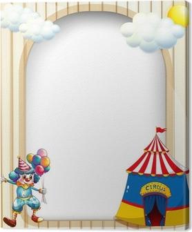 Leinwandbild Eine leere Vorlage mit einem Zirkuszelt und einem männlichen Clown