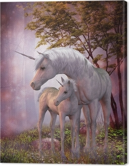 Leinwandbild Einhorn-Stute und Fohlen
