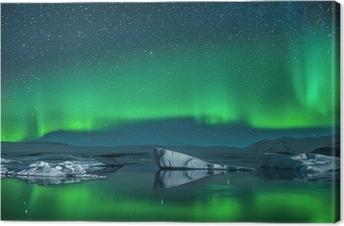 Leinwandbild Eisberge im Nordlichter