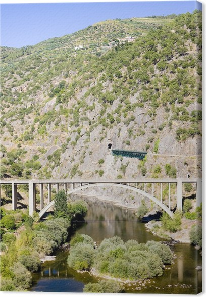 Leinwandbild Eisenbahn Und Straßenverbindungen Viadukte In Douro Valley Portugal