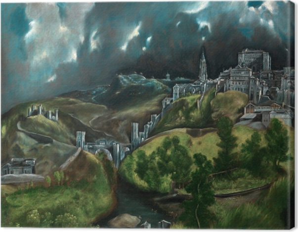 Leinwandbild El Greco - Blick auf Toledo (Gewitter über Toledo) - Reproduktion