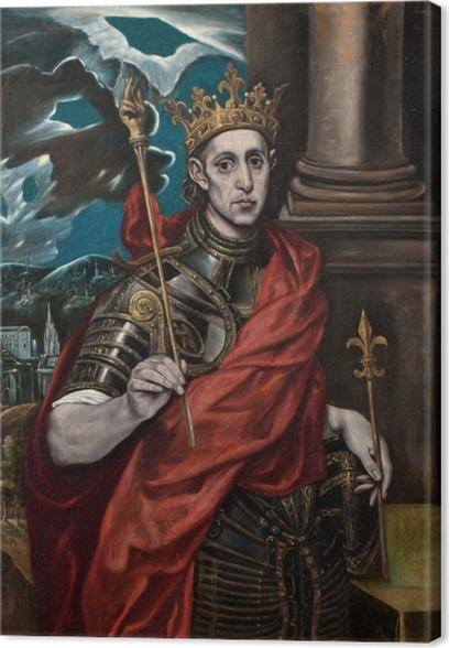 Leinwandbild El Greco - Der hl. Ludwig, König von Frankreich, mit einem Pagen - Reproduktion