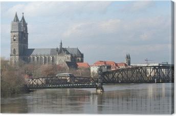 Leinwandbild Elbe und dom in magdeburg