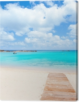 Leinwandbild Els Pujols Formentera weißen Sand türkisfarbenen Strand