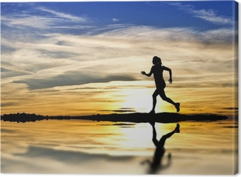 Leinwandbild Entlang des Seeufers laufen