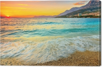 Leinwandbild Erstaunlich Sonnenuntergang über dem Meer, Makarska, Kroatien