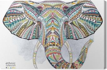 Leinwandbild Ethnische gemusterten Kopf des Elefanten auf der Grange Hintergrund / afrikanischen / indischen / totem / Tattoo-Design. Verwenden Sie für den Druck, Poster, T-Shirts.