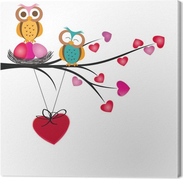 Leinwandbild Eulen und Herzen • Pixers® - Wir leben, um zu verändern