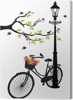 Leinwandbild Fahrrad mit Lampe, Blumen und Bäumen, Vektor