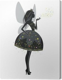 Leinwandbild Fairy in einem schwarzen Kleid