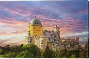 Leinwandbild Fairy Palace gegen Sonnenuntergang Himmel / Panorama of Palace in Sintra,