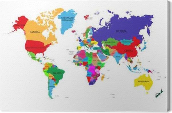 Leinwandbild Farbige politische Weltkarte mit den Namen von ...