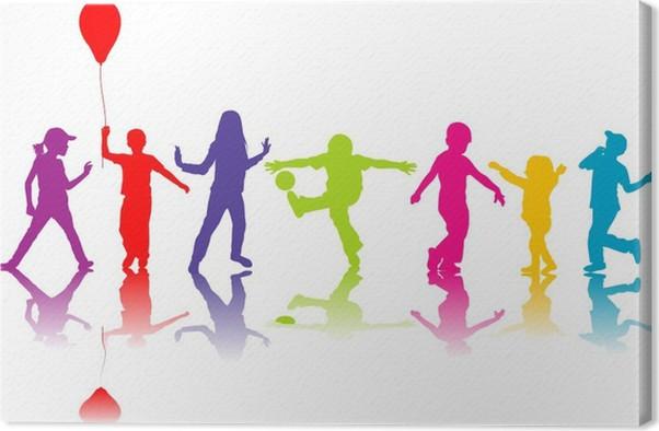 Leinwandbild Farbige Silhouetten der Kinder spielen • Pixers® - Wir ...