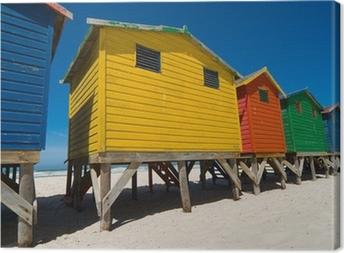 Leinwandbild Farbigen Strandhütten in der Nähe von Kapstadt - low angle