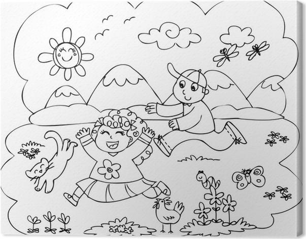 Leinwandbild Färbung Kinder spielen in der Landschaft • Pixers ...