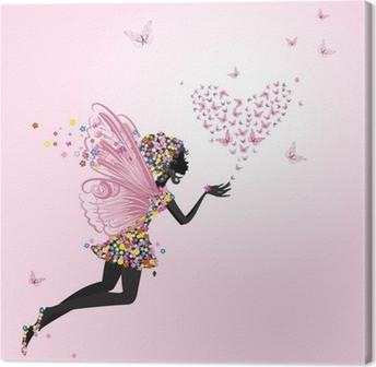 Leinwandbild Fee mit einem Valentine der Schmetterlinge
