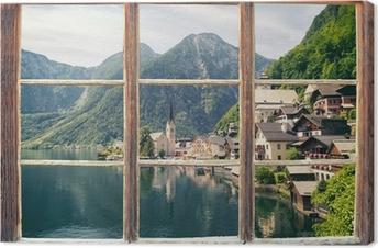Leinwandbild Fensterblick Hallstatt