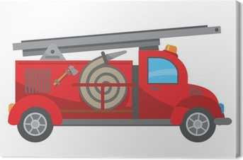 Leinwandbild Feuerwehrauto-Cartoon