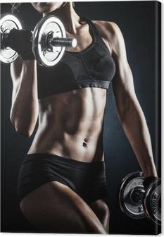 Leinwandbild Fitness mit Hanteln