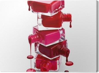 Leinwandbild Flaschen mit verschüttete Nagellack