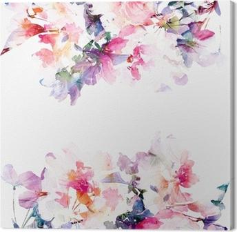 Leinwandbild Floral Aquarell Hintergrund. Rosen.