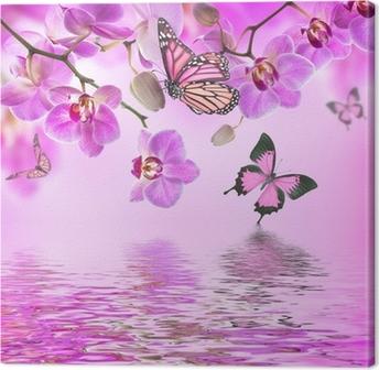 Leinwandbild Floral Hintergrund der tropischen Orchideen und Schmetterling