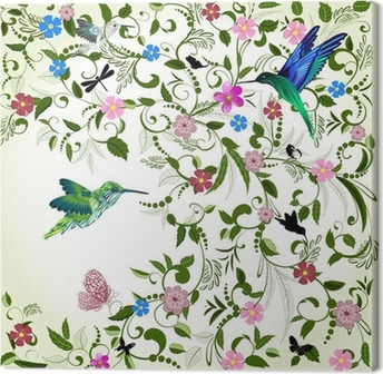 Leinwandbild Floral Hintergrund mit Vogel