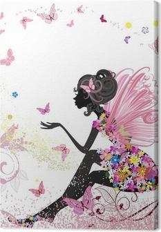 Leinwandbild Flower Fairy in der Umgebung von Schmetterlingen