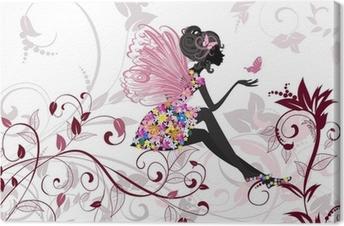 Leinwandbild Flower Fairy mit Schmetterlingen