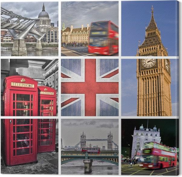 Leinwandbild Foto Collage London Uk Pixers Wir Leben Um Zu