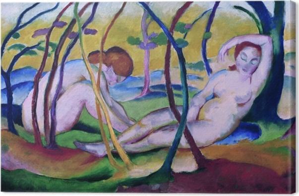 Leinwandbild Franz Marc - Nackt unter Bäumen - Reproductions
