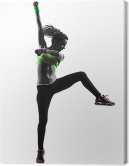 Leinwandbild Frau ausüben Fitness Zumba tanzen Silhouette