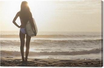 Leinwandbild Frau Bikini Surfer Surfboard & Sunset Beach